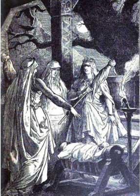 Urer, Versandi y Skuld con un niño.